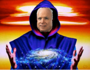 McCain demonstrating his awful control of forbidden mystical forces with which no human should traffic